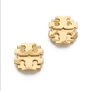 NWT Tory Burch gold logo T earrings